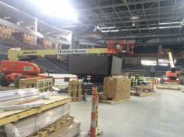 The Baxter Arena's scoreboard will be installed in the coming weeks.