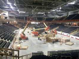 The arena floor can transform from a hockey rink to a basketball or volleyball court in approximately three hours.