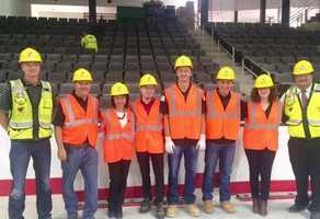 KETV NewsWatch 7 reporter Chinh Doan and photojournalist Terry Sedivy getting an exclusive tour of Baxter Arena with general manager Mike Cera, UNO hockey players Tanner Lane and Jake Randolph, along with members of UNO and the Kiewit Corporation.