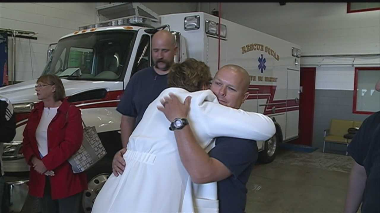 A Bellevue couple went to the Bellevue Fire Department Sunday to say thank you to the men who saved a life in the middle of the night last spring.