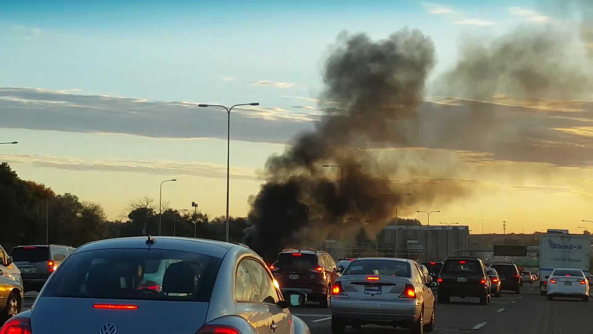 Car fire cellphone video