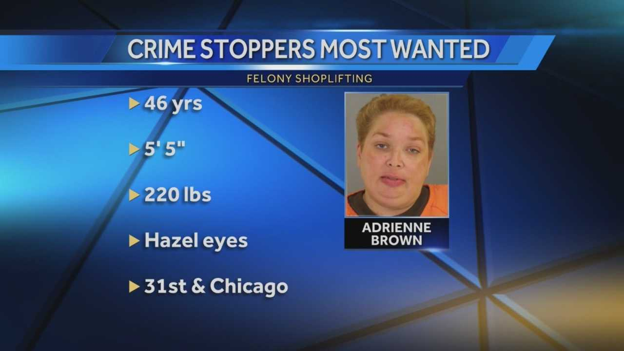 Adrienne Brown, 46, tried to shoplift a number of common household items, including a soap dispenser and rug, in May, according to Omaha police who are looking for her.