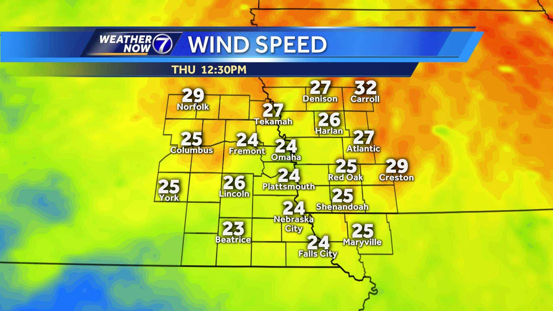 Wind speeds anticipated for Thursday
