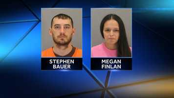 Stephen Bauer, 37, and Megan Finlan, 32, were arrested Thursday on child neglect charges.