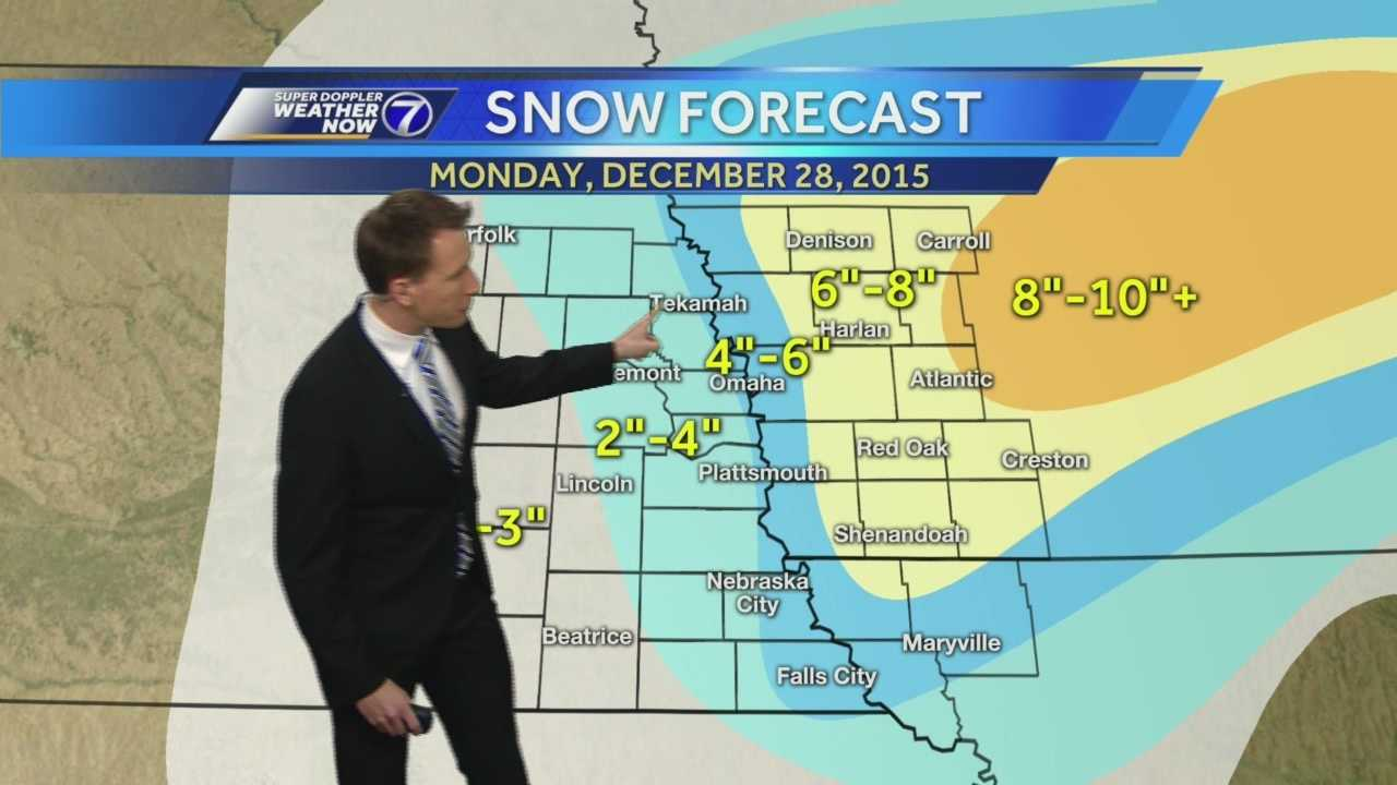 Matt says parts of the Omaha metro area closer to the Missouri River could see 4 to 6 inches of snow.