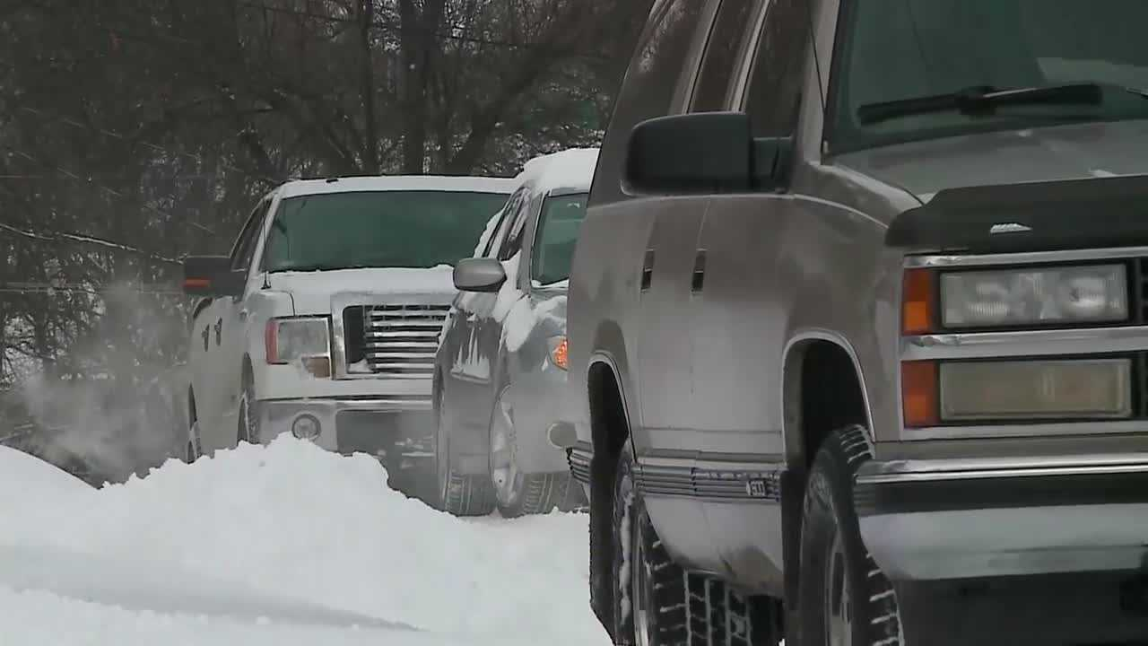 There was no way around a snowy, traffic jam outside Norris Middle School near 45th and Bancroft Streets.