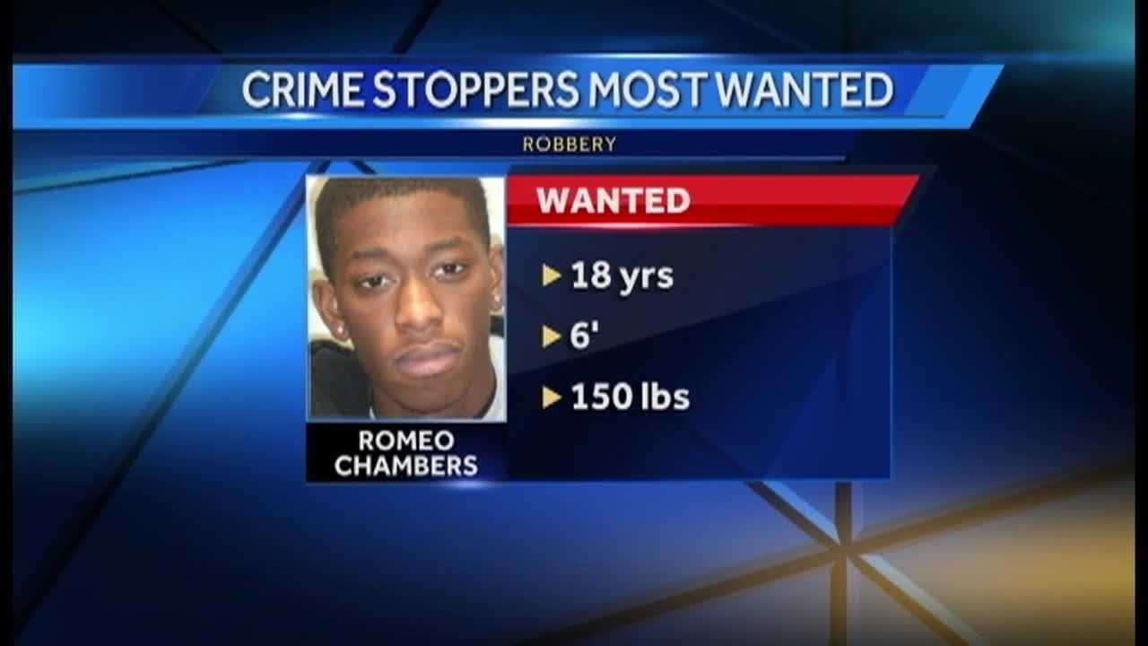 Romeo Chambers, 18, is suspected of being one of three guys who robbed a man at gunpoint, taking a number of his things.