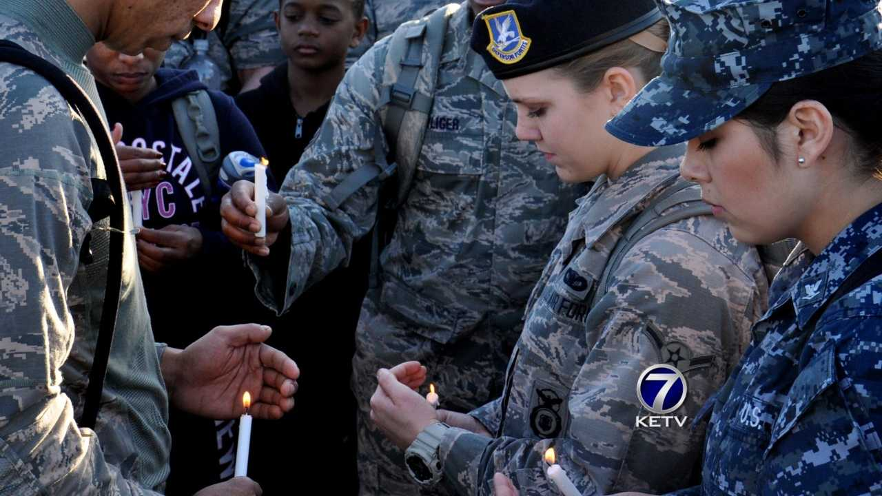 Members of the 55th Security Squadron at Offutt Air Force Base shouldered up their packs in memory of one of their own, Staff Sgt. Michael Bunten, on Saturday.