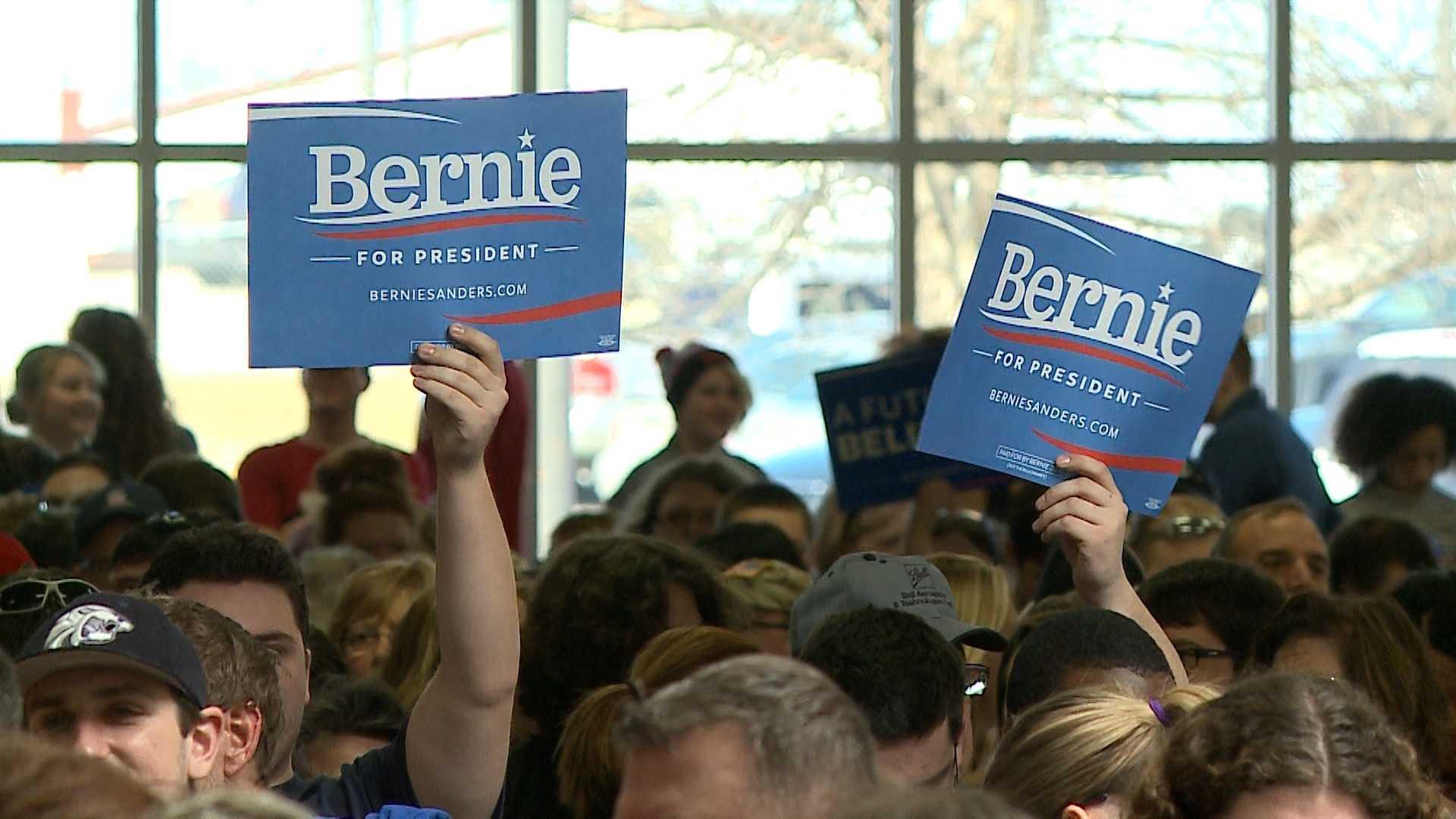 Democrat presidential candidate Bernie Sanders celebrated a victory in Nebraska on Saturday.