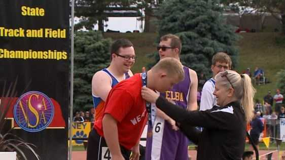 Special Olympics runners had the opportunity to display their sportsmanship in front of the crowds at the Nebraska State High School Track and Field Championship in Omaha on Saturday.