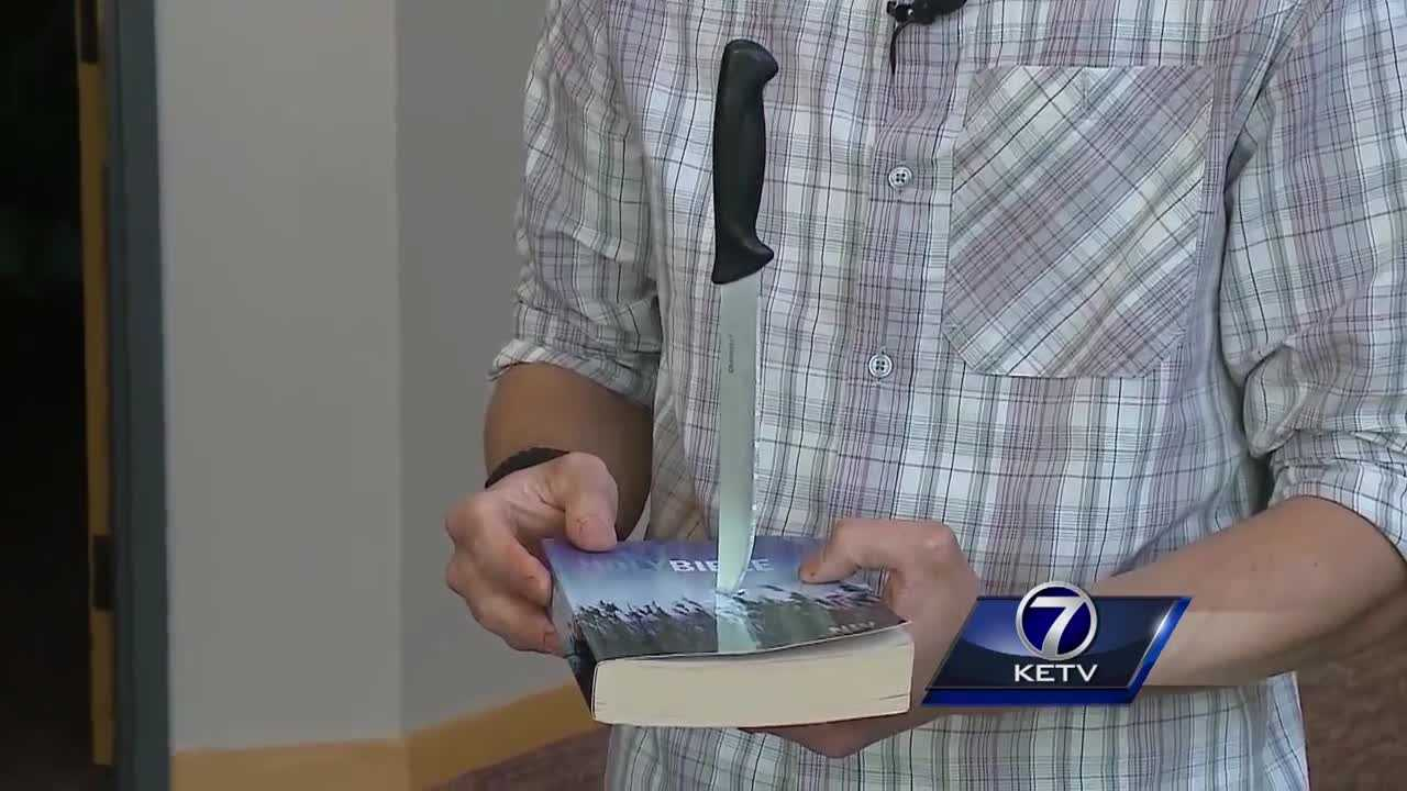 A Lincoln youth pastor said he is praying for the person who vandalized his church, saying that he was shocked when he found a knife stabbed into a Bible.