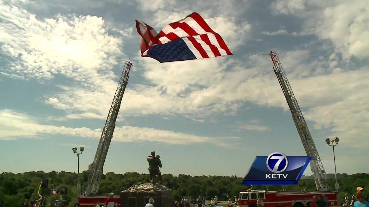 Veterans and families who have lost loved ones in the military filled Omaha's Memorial Park Monday.