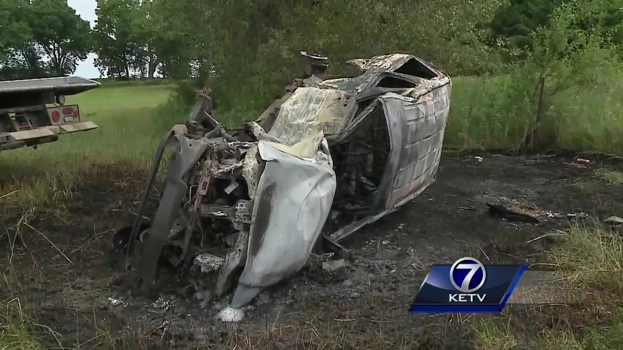A fiery crash was reported Monday morning in Saunders County.