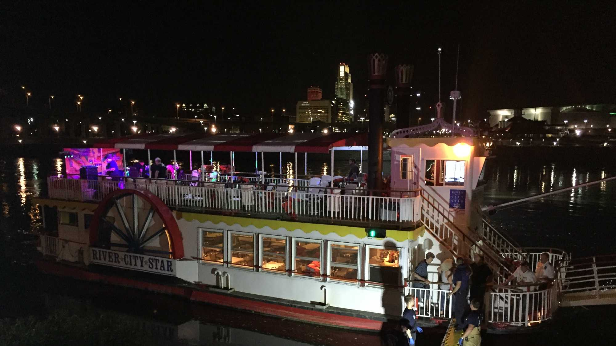 An emergency evacuation is underway on the River City Star after an incident on the Missouri River Friday night.