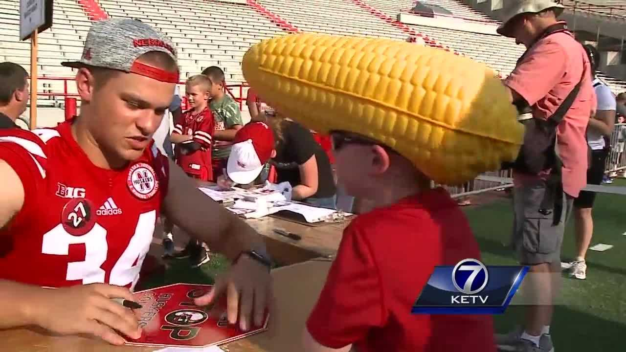 Hundreds of Husker fans lined up in Lincoln to meet their favorite players during the annual Husker Fan Day.