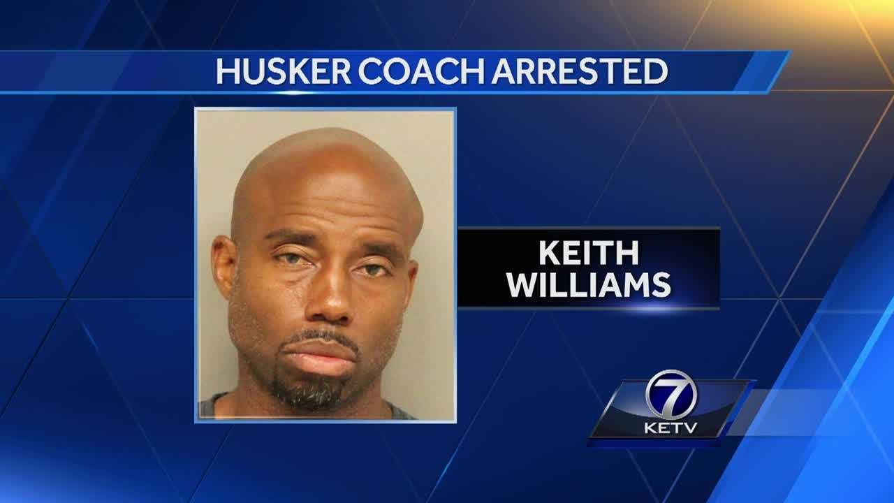 Less than a mile from Memorial Stadium, Nebraska's exuberant receivers coach, Keith Williams, was arrested in the early hours of Sunday morning on suspicion of driving under the influence after a two-vehicle crash was reported.