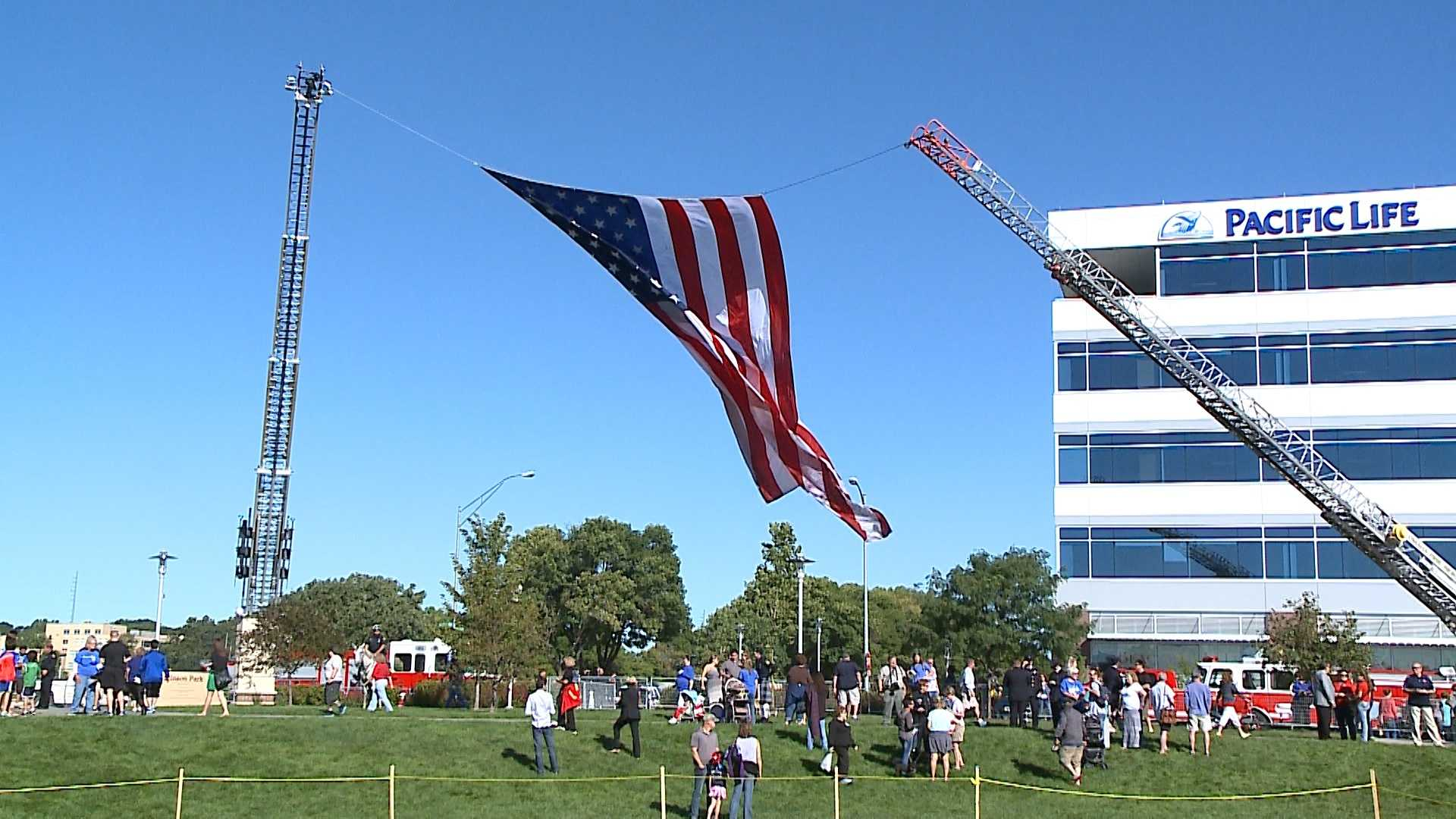 Omahans gathered at Stinson Park in Aksarben Village on Sunday morning to commemorate 9/11 terrorist attacks.