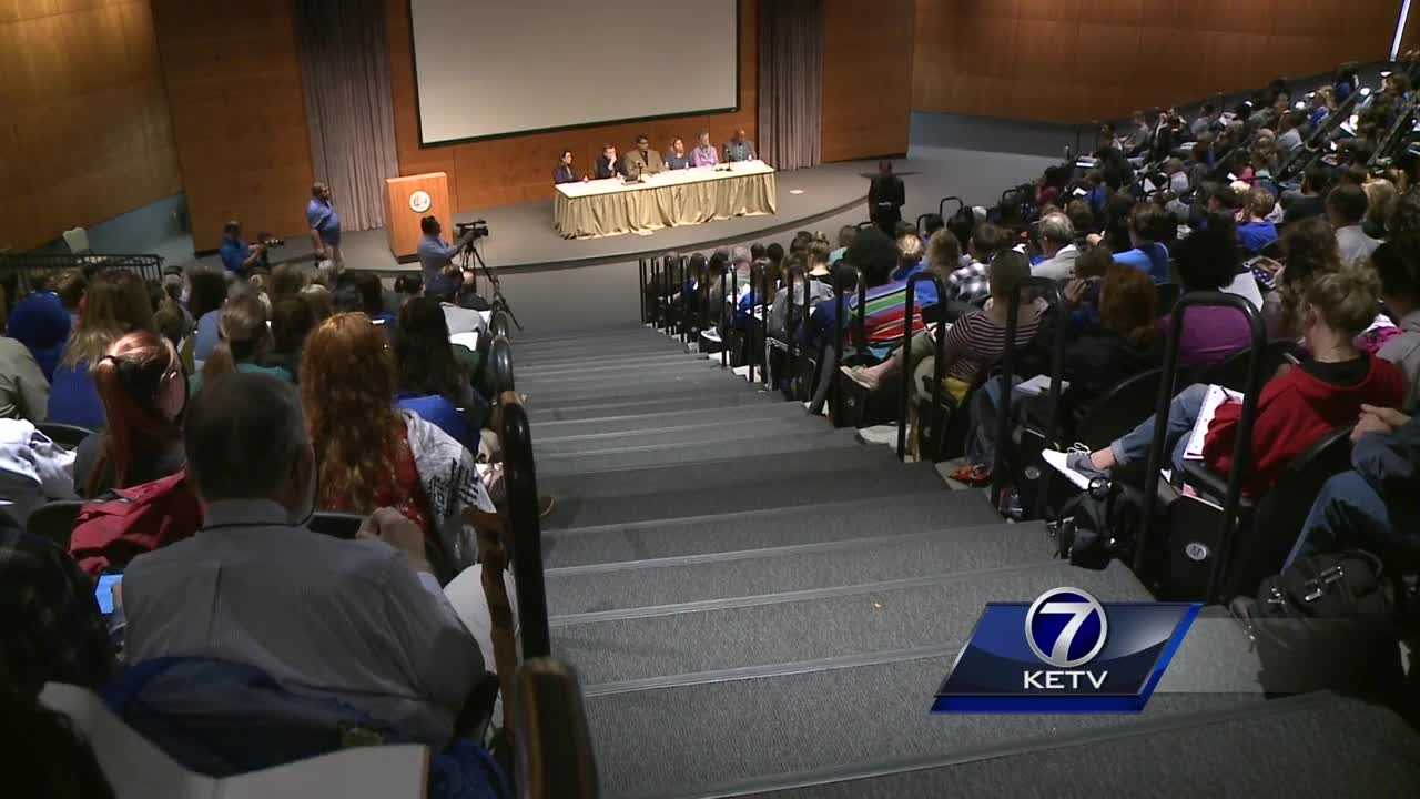 Hundreds of Creighton University students and teachers gathered to discuss race relations, both nationally and locally.