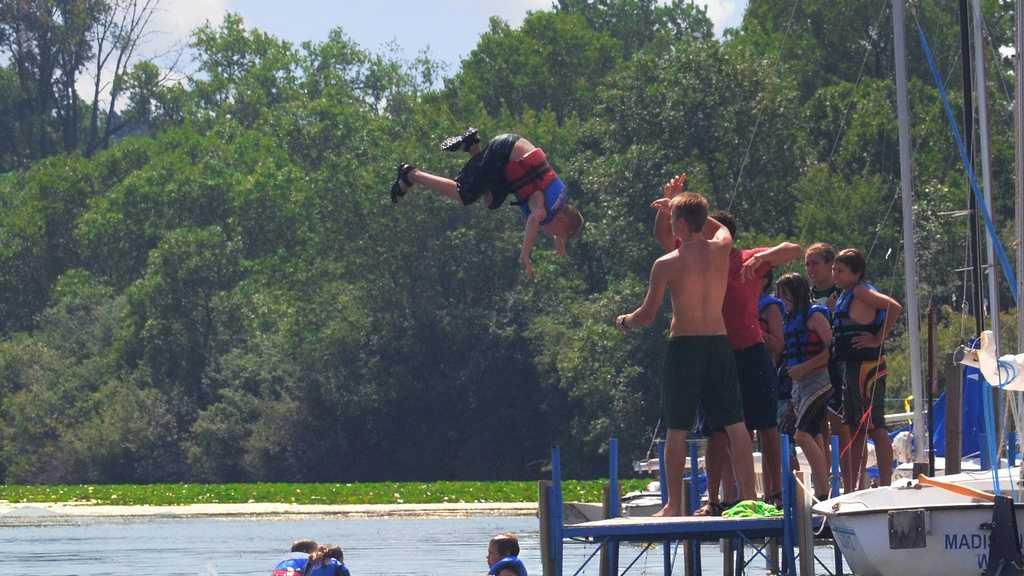 Summer camp, kid thrown in lake