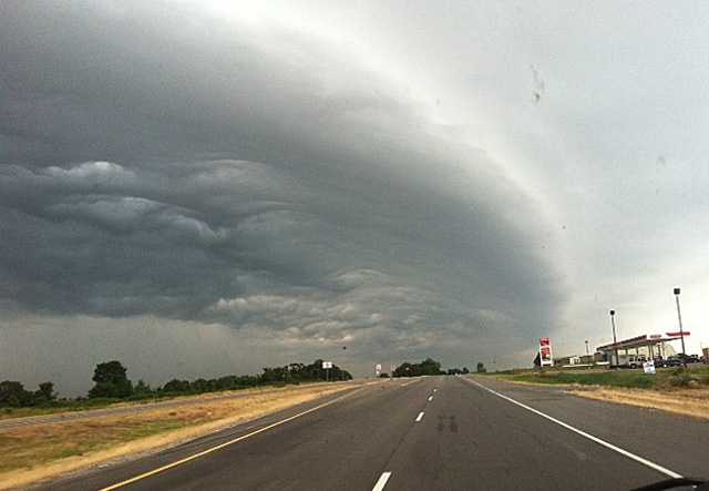 Storms and showers roll through parts of Arkansas and Oklahoma.
