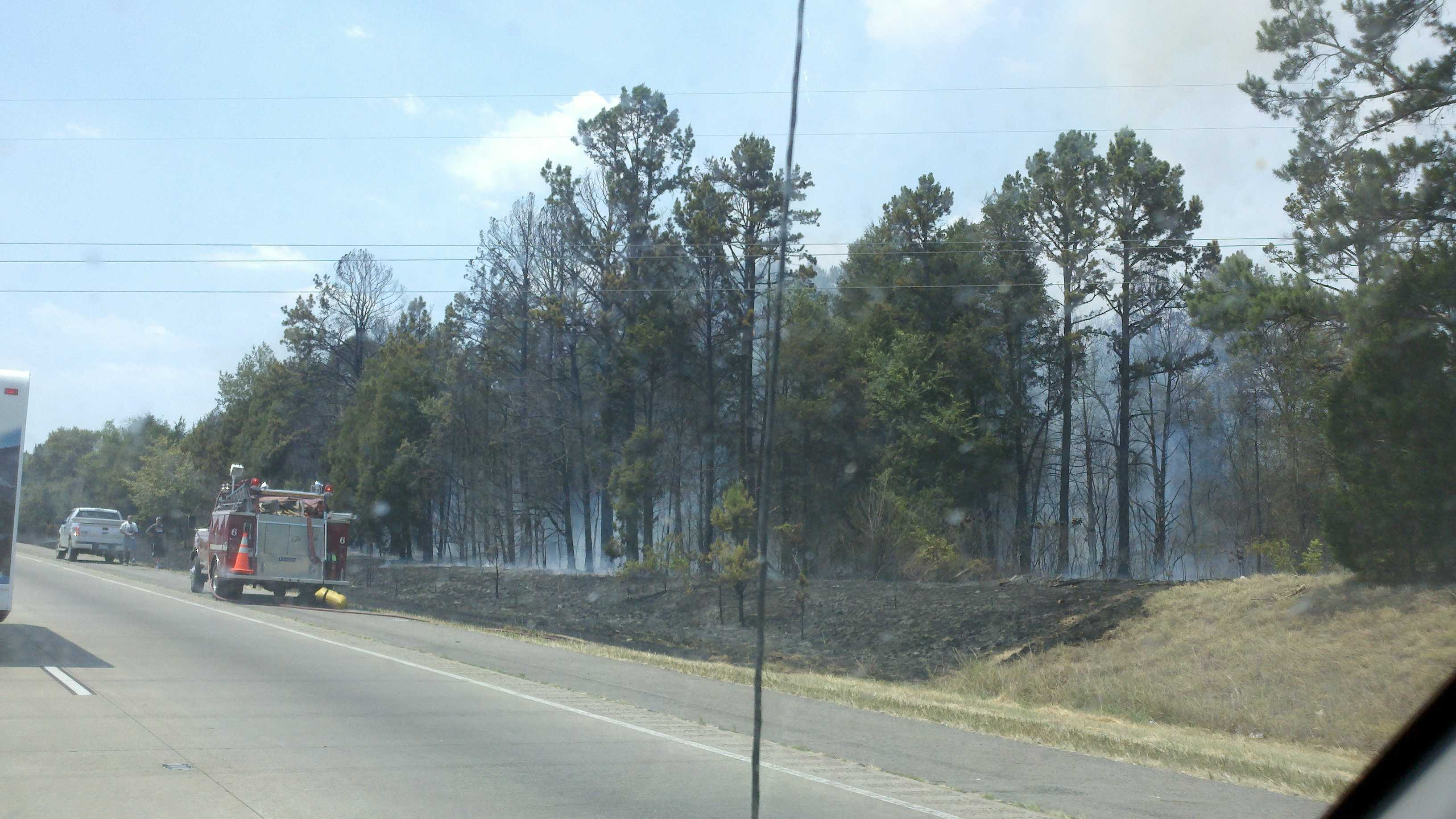 Dispatchers say this fire started along the interstate and spread out into the county. You can see some of the damage left behind by the wildfire.