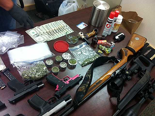 Items seized during a search of Dustin Brownfield's home on Thursday.