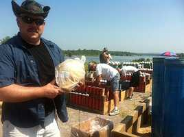 Technicians prepare for the Fourth of July fireworks.