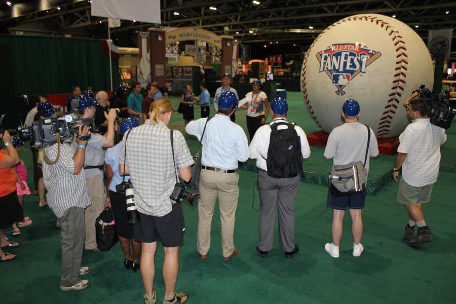 48,159 Miles: The World's Largest Baseball, signed by Hank Aaron, Yogi Berra, Derek Jeter, Willie Mays, Ted Williams, and others, will have traveled 48,159 miles by the time it arrives at the Kansas City Convention Center/Bartle Hall for MLB All-Star FanFest.
