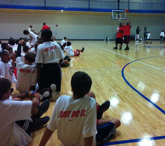 Kids attend the Ronnie Brewer Basketball Camp at the Fayetteville Boys and Girls Club.