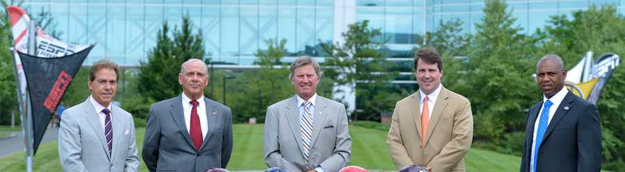 Alabama head coach Nick Saban, Arkansas head coach John L. Smith, South Carolina head coach Steve Spurrier, Florida head coach Will Muschamp and Kentucky head coach Joker Phillips on the ESPN campus