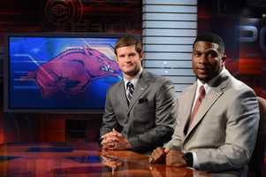 Arkansas quarterback Tyler Wilson and running back Knile Davis take a break during a LIVE appearance on ESPN SportsCenter