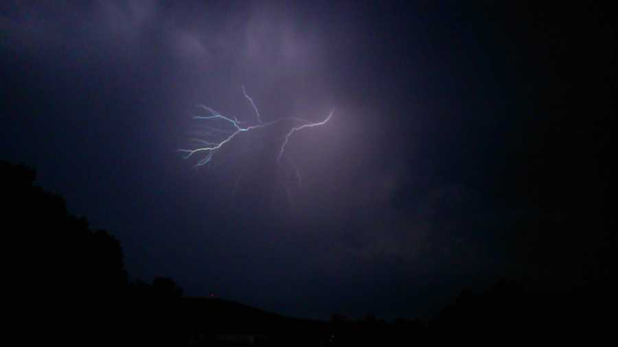 Along with the storms, lightning was spotted with the showers.