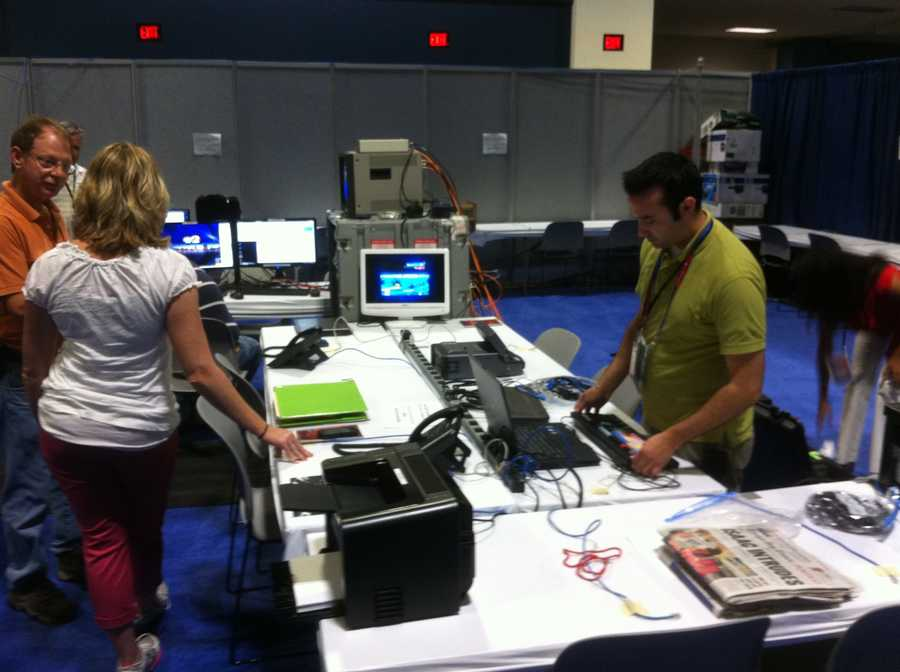 Crews work to get set up to report on this week's Republican National Convention.