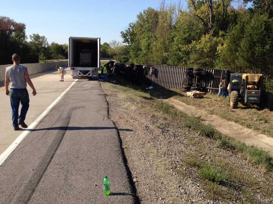 Southbound lane on I-540 near Exit 21 is closed. Police said a semi-truck carrying frozen chick lost control and overturned. The driver was taken to hospital for minor injuries.