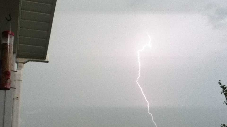 Lightning was seen in the sky in the south part of Springdale during Friday's storms.
