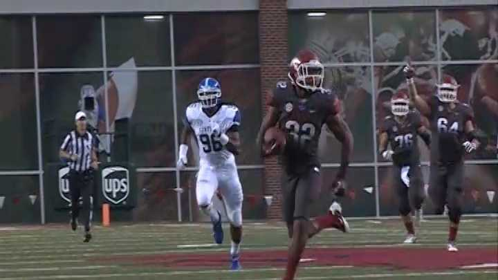 Freshman RB Jonathan Williams catches a 74-yard touchdown pass from Tyler Wilson on the Hogs' first play from scrimmage against Kentucky.