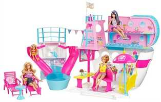 Barbie Sisters Cruise Ship: Barbie and her three sisters can take a magical trip on the Barbie cruise ship. The boat features a steering wheel and space for two lounge chairs on the upper deck. The side panel opens up to reveal another deck, a fun swing that holds all four sisters and a grand buffet table. The back of the Barbie ship pulls out to reveal a pool with two slides.