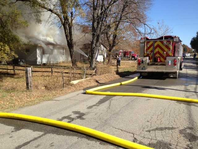 Firefighters from Pocola, Murray, Spur and Hogeye fire departments are on the scene at a house fire at 1801 E Mckenzie Avenue in Pocola.