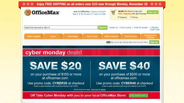 Cyber Monday 2012 - OfficeMax