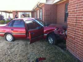 A woman crashed her car into the wall at North Hills LifeCare and Rehab in Fayetteville Monday morning around 11 a.m.