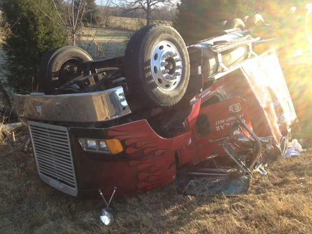 According to the Arkansas State police, The driver of this truck was traveling on Hwy 23 when he ran off the road. His truck flipped and he was trapped inside.