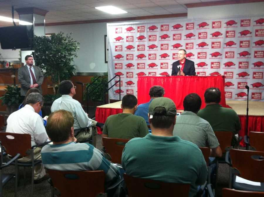 After the discovery of an affair between Bobby Petrino and Jessica Dorrell, Athletic Director Jeff Long placed Petrino on suspension with pay while he investigated the situation.