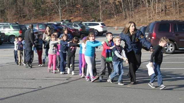 Sandy Hook children evacuating