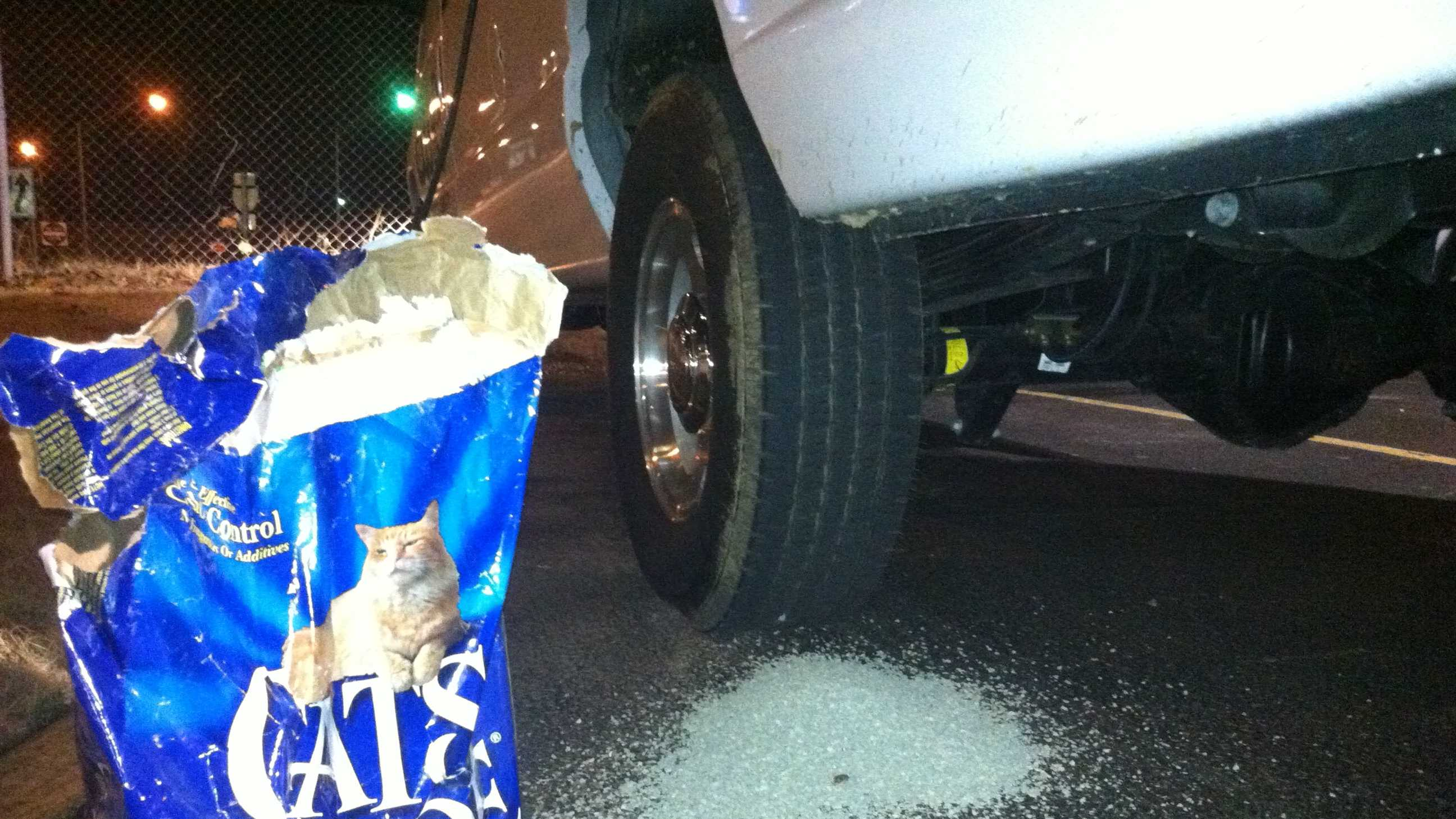 If you get stuck on snow or ice, use cat litter to create traction between your tires and the road if you get stuck.