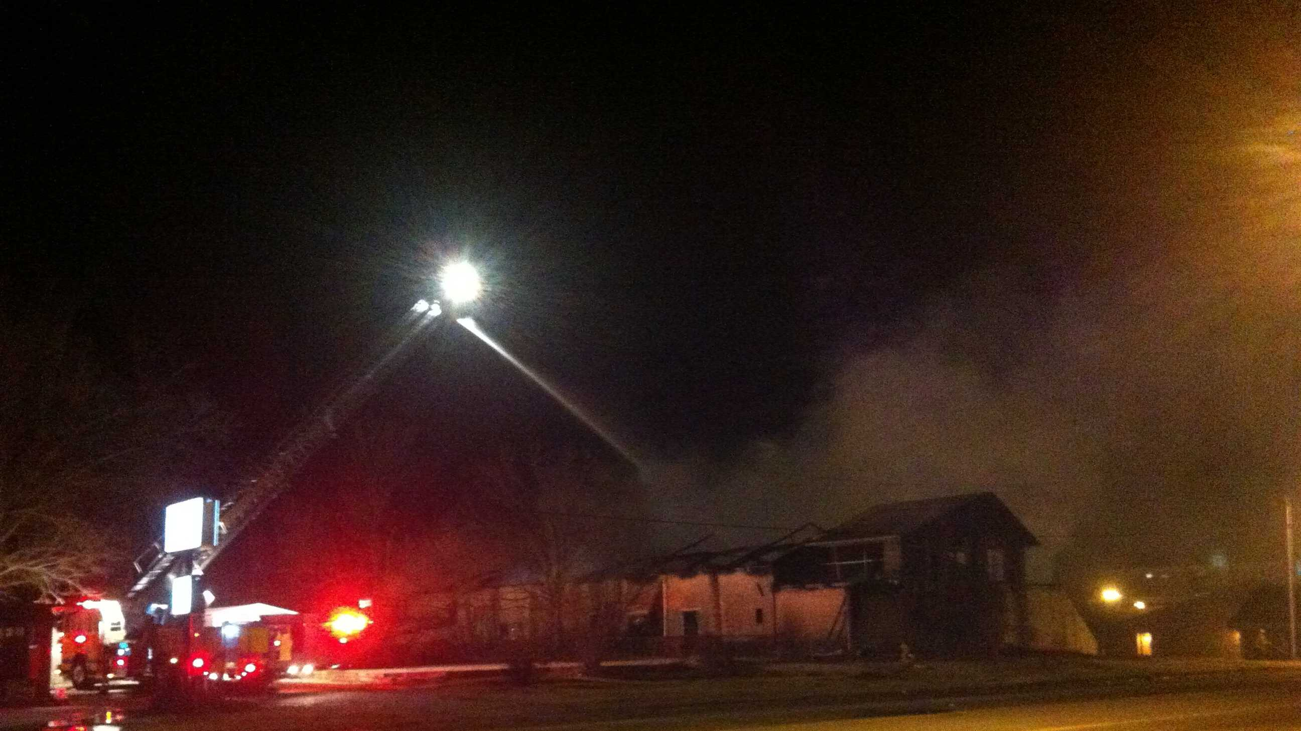 Firefighters from Springdale and Fayetteville battled flames overnight into Monday morning at a building fire.