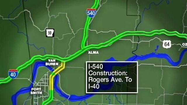 Starting today the left lanes of I-540  will be closed from Rogers Avenue to I-40