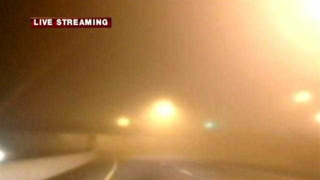 Dense fog in the River Valley is causing dangerously low visibility for drivers