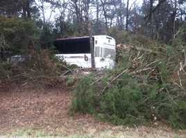 The bus crashed into the woods off of Hwy 71. Passengers told 40/29 news they were terrified.