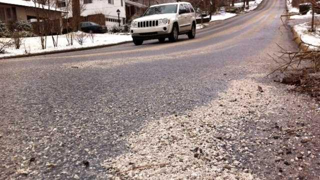 Road crews laid a sand/salt mixture to melt ice