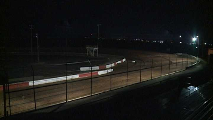Tri-State Speedway at night.